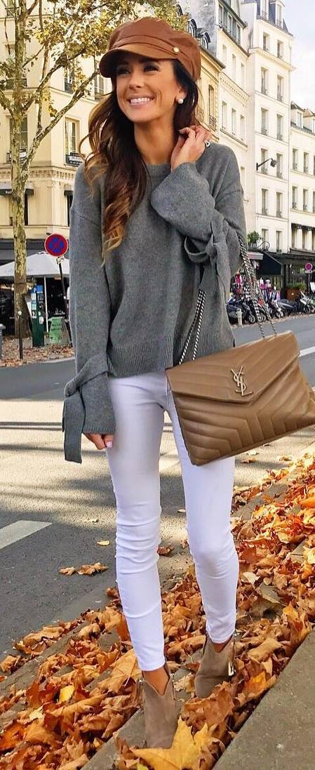 incredible outfit idea / hat + grey sweater + bag + white skinnies + boots