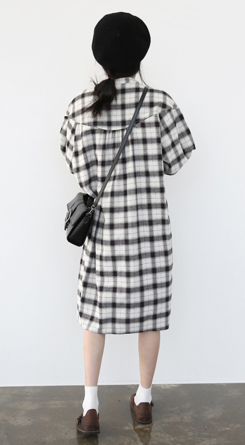 Self-Tie Belt Check Print Dress
