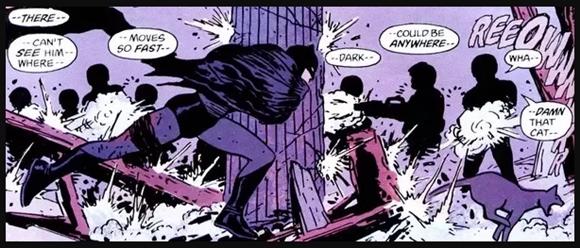 Batman: Año Uno con Batman peleando contra la policía