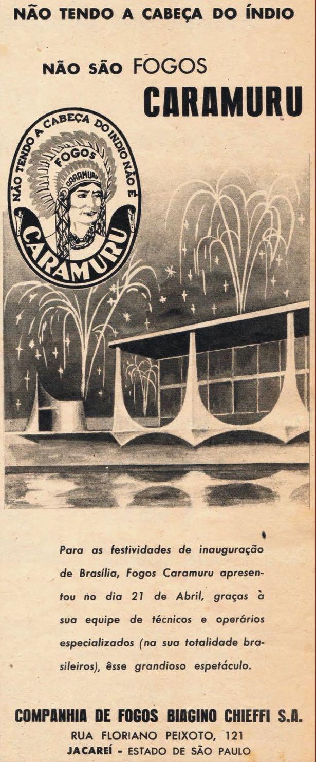 Propaganda antiga dos Fogos Caramuru nas vésperas da inauguração de Brasília