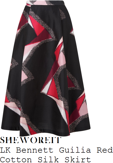 lorraine-kelly-lk-bennett-giulia-black-white-red-and-baby-pink-geometric-print-high-waisted-silk-blend-midi-skirt