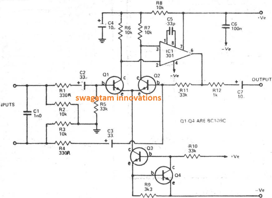 balanced microphone preamplifier circuit