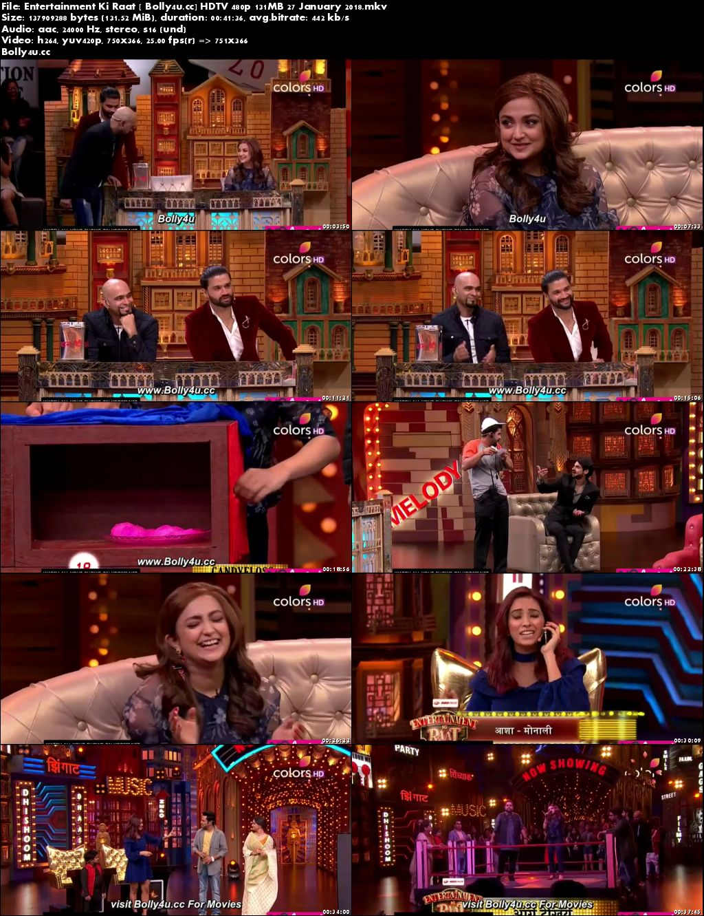 Entertainment Ki Raat HDTV 480p 130MB 27 January 2018 Download