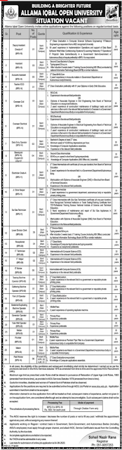 allama-iqbal-open-university-aiou-jobs-august-2020-form