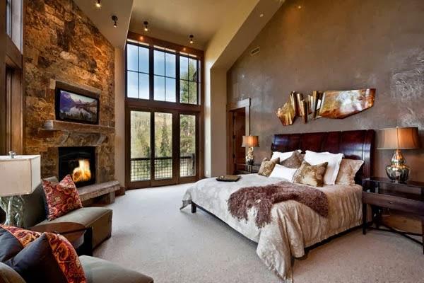 Habitación matrimonial con chimenea