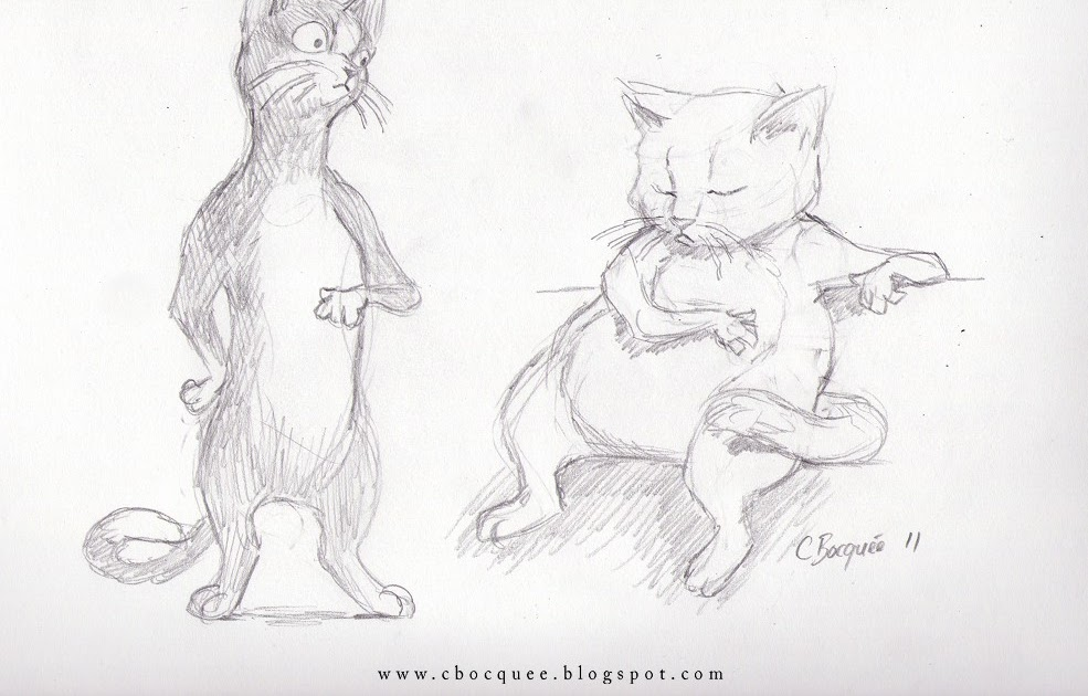 The Art Of Christian Bocquée Anthro Cat Sketches