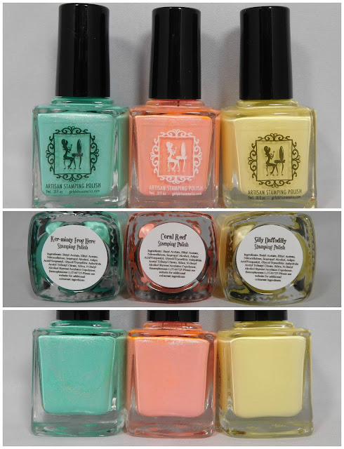 Girly Bits Ker-minty Frog Here, Coral Reef, and Silly Daffodilly