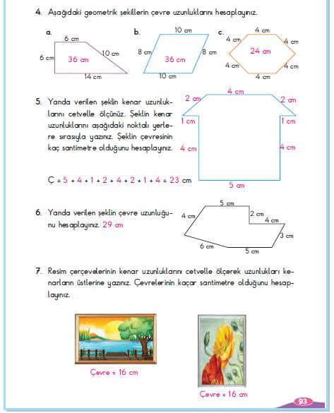 3. Sınıf Berkay Yayınları Matematik Çalışma Kitabı 93. Sayfa Cevapları Çevresini Ölçelim 5-1 Çalışma