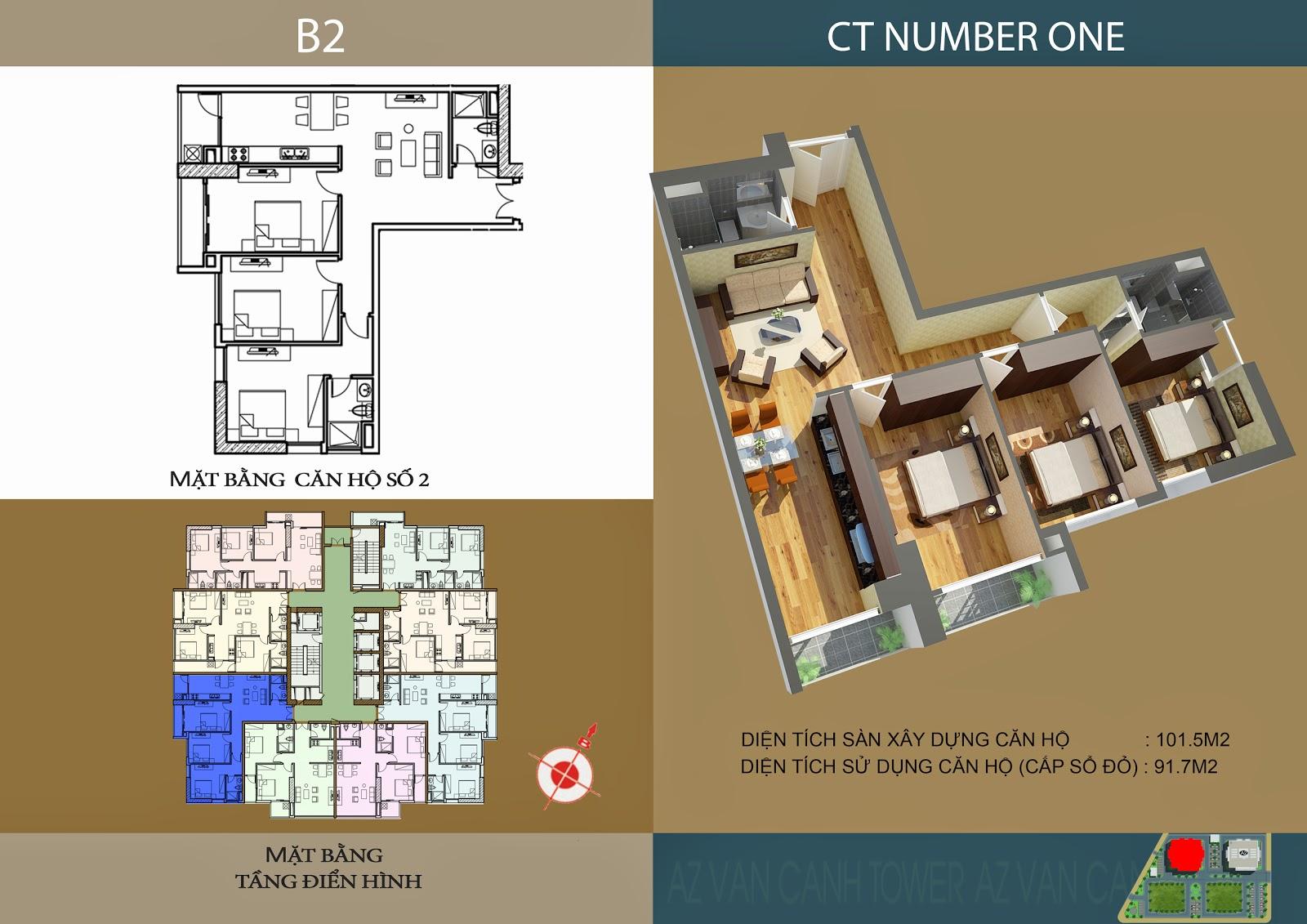 Căn số 2 - Diện tích 101.5m2 tại tòa B2 Chung cư CT Number One