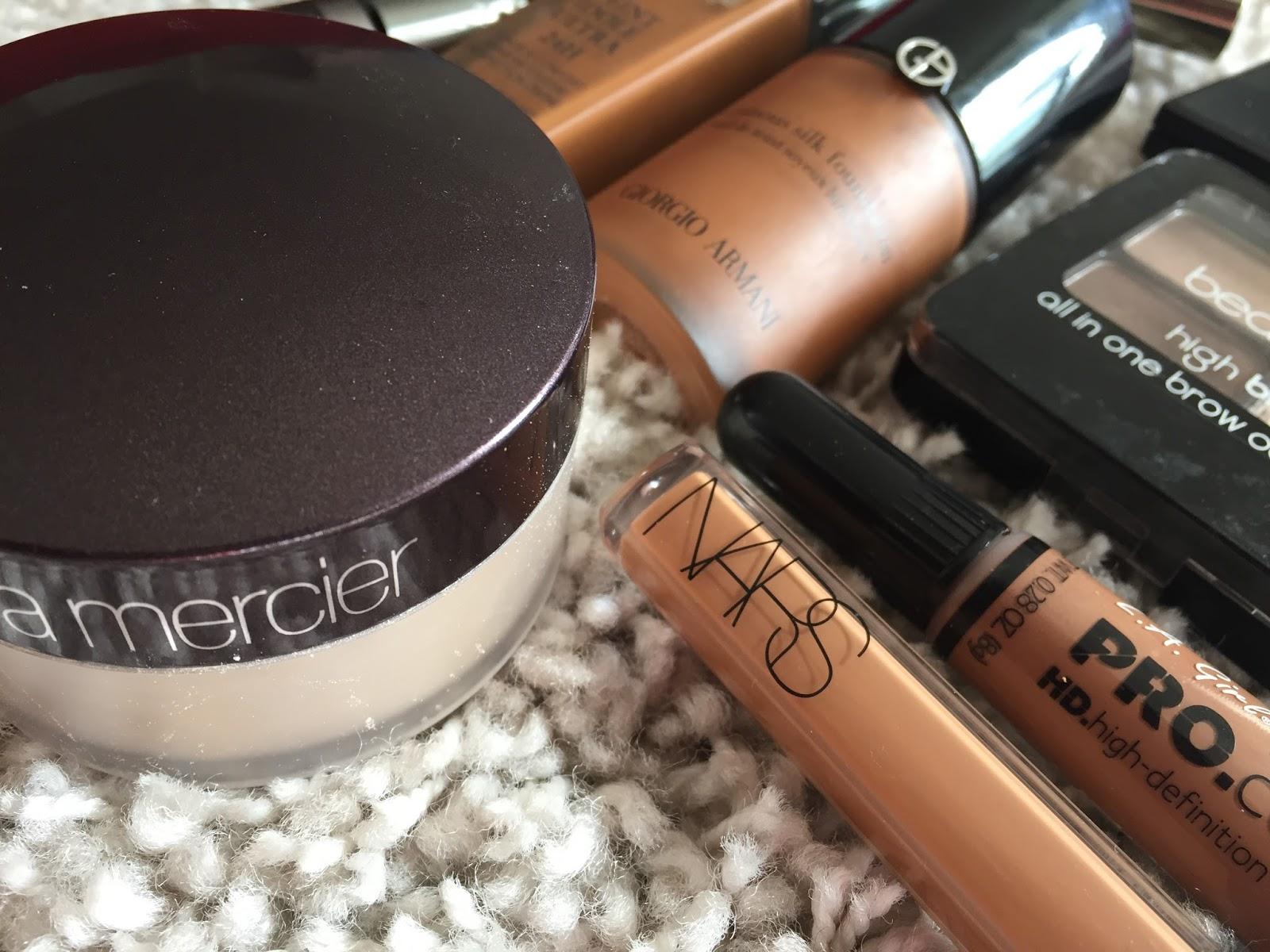 makeup, dark skin, laura mercier, lancome, nars