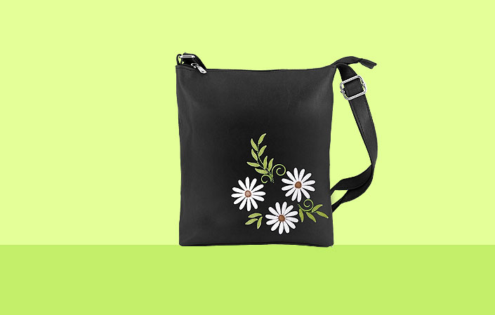 LAVISHY vegan bag with daisy flower applique