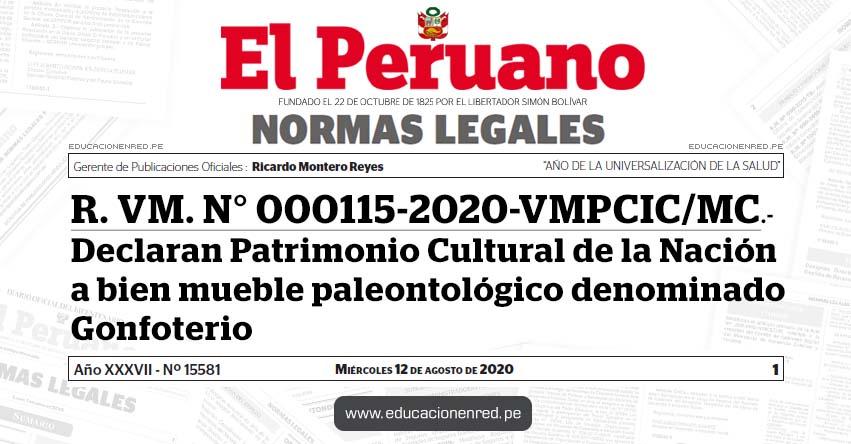 R. VM. N° 000115-2020-VMPCIC/MC.- Declaran Patrimonio Cultural de la Nación a bien mueble paleontológico denominado Gonfoterio