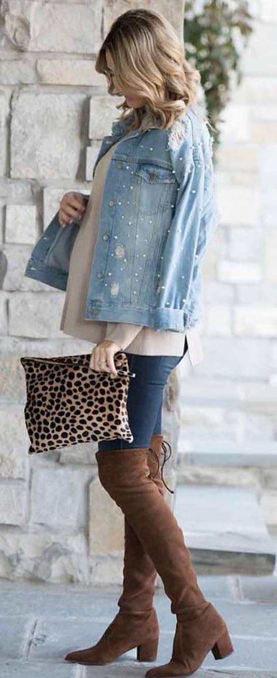 what to wear with a denim jacket : top + bag + skinnies + brown over knee boots