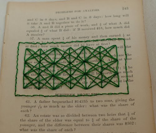 Rectangular green stitched design on vintage book page