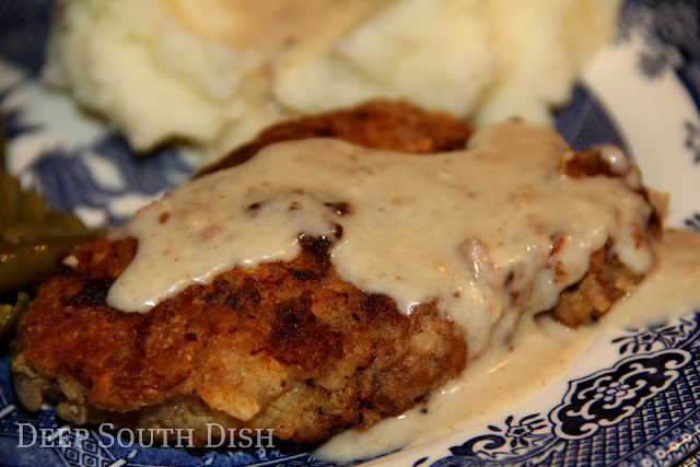 Cube steaks, dredged in seasoned flour, fried in fat and bacon drippings and drizzled with a peppered milk gravy.