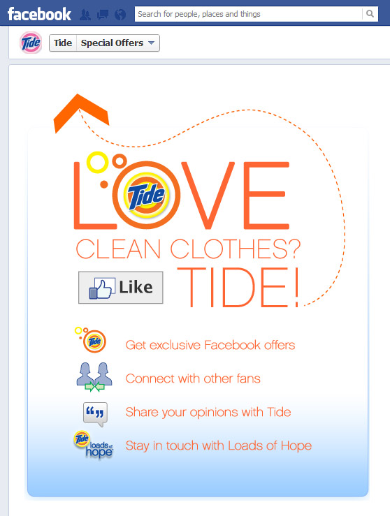 Tide Facebook welcome page