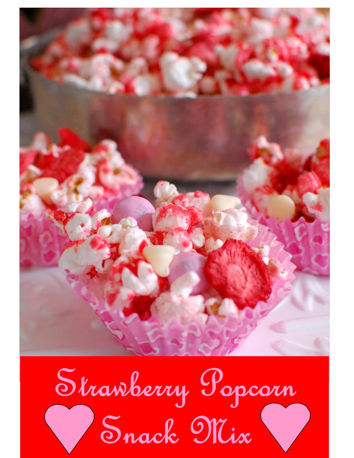 Strawberry Popcorn Snack Mix