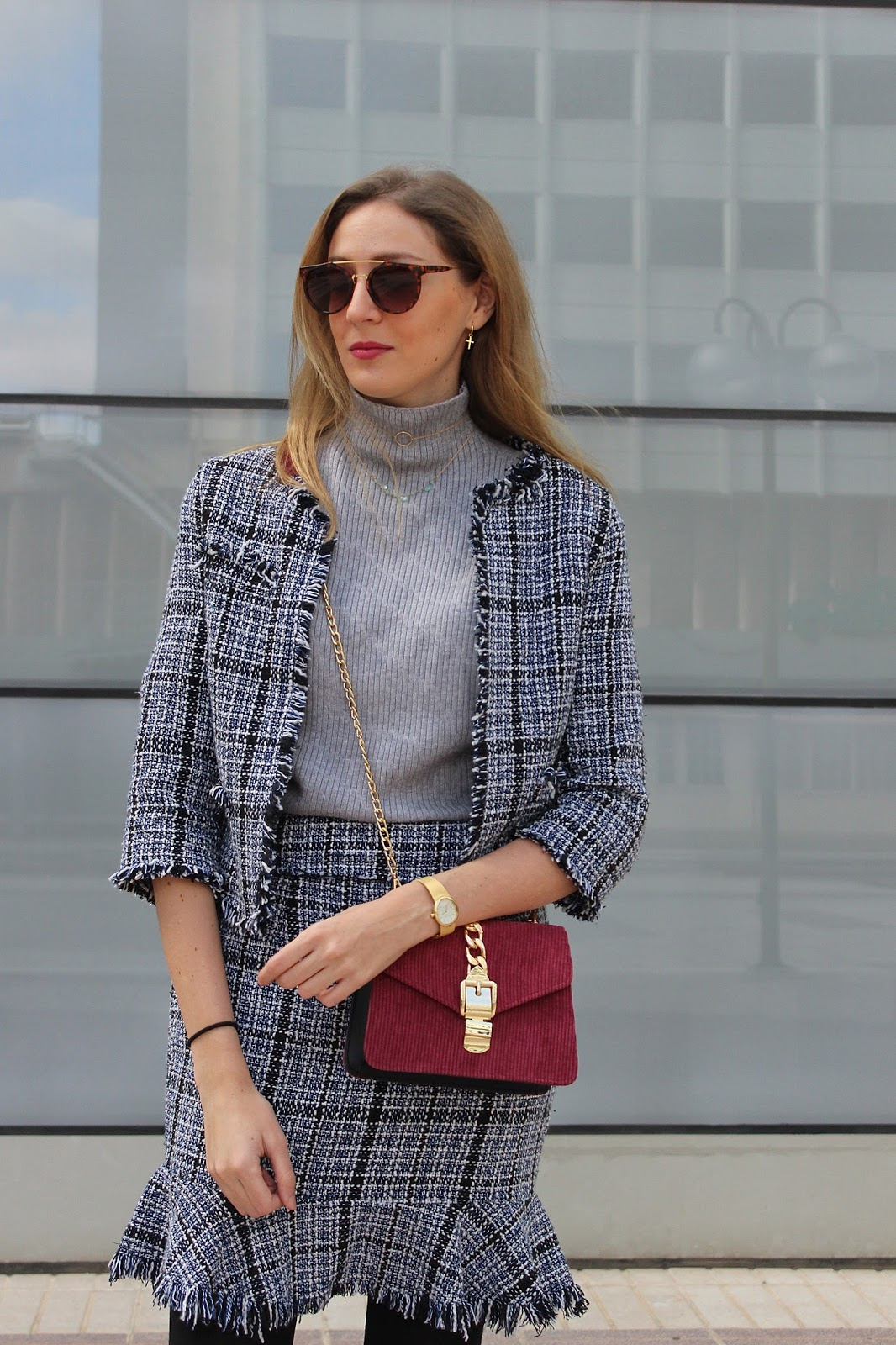 tweed-skirt-jacket-corduroy-bag-burgundy-loafers