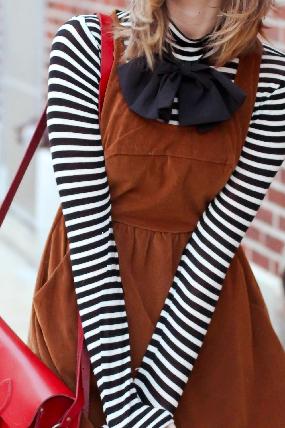 asos bow, lulu's corduroy ladakh dress, striped forever21 turtleneck, nyc vintage blogger, vintage blogger, nyc fashion blog