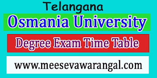 Osmania University Masters Degree in Ploce Mgnt 1st - 2nd Sem Sep 2016 Exam Time Table
