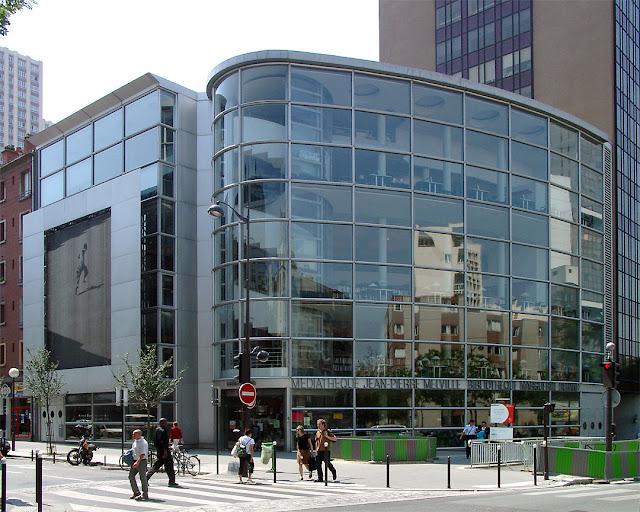 Médiathèque Jean-Pierre Melville, Bibliothèque Marguerite Durand, rue Nationale / rue de Tolbiac, quartier des Olympiades, Paris