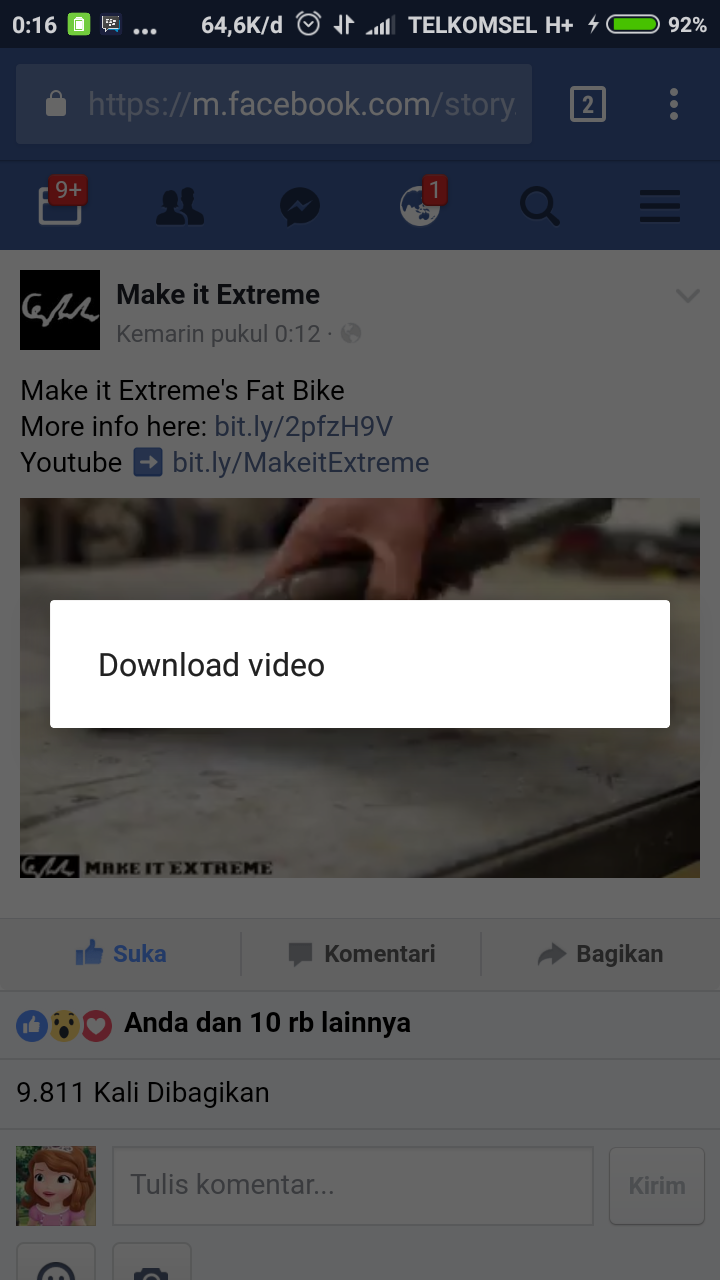 cara men facebook toolbar