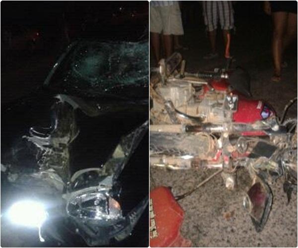 Graça-CE: Colisão frontal entre carro e moto deixa uma vitima fatal