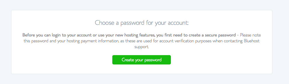 Create your bluehost password