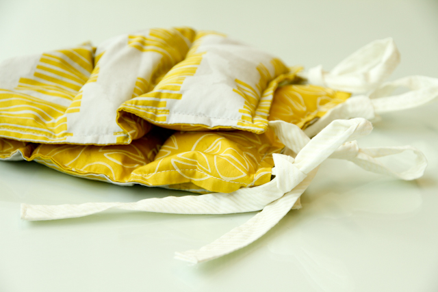 citron hot-cold rice pack with white ties by Lovely and Enough