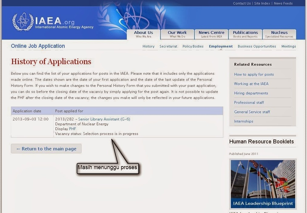 Melamar Sebagai Senior Library Assistant  di International Atomic Energy Agency (IAEA)