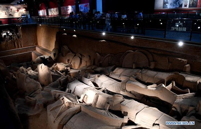 Archaeologists excavate ancient horses and chariots in Central China