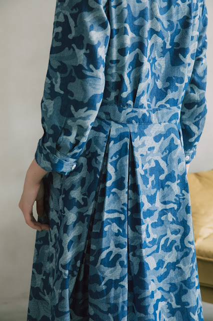海洋鯨魚開襟七分袖洋裝