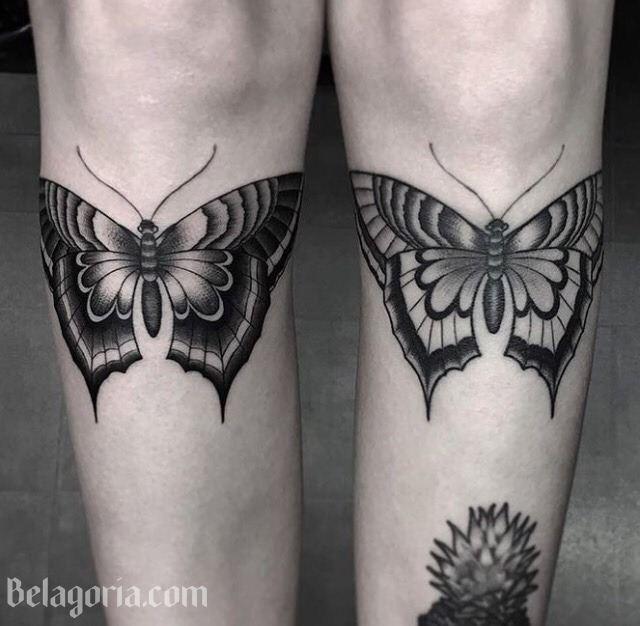 tatuaje de flores y mariposas para chica