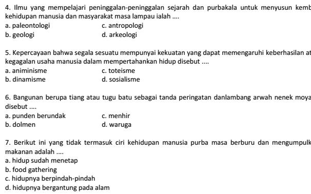 Kisi Kisi Soal UAS Ganjil IPS SMP Kelas 7