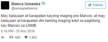 Bianca Gonzales Bash Online For Supporting Anti-Marcos Rally: 'Hindi Pa Rin Mababago Ang Kasaysayan. #MarcosNOTaHero'