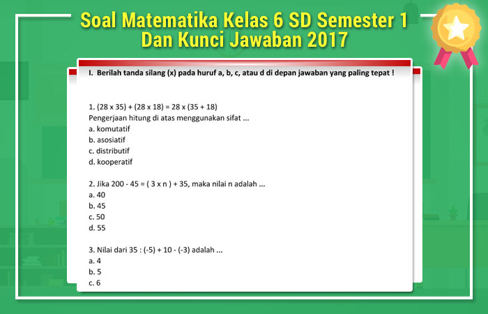 Soal Matematika Kelas 6 Sd Semester 1 Dan Kunci Jawaban 2017 Soal Uts Ujian Tengah Semester
