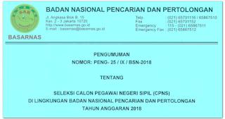 engumuman CPNS BASARNAS 2018