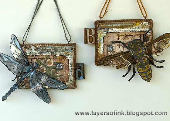 http://layersofink.blogspot.com/2014/07/dragonfly-and-bee-burlap-panels-tutorial.html