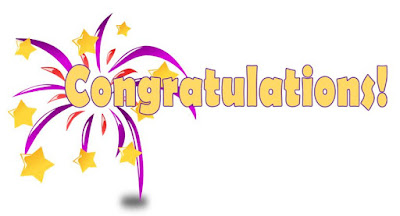 "The word ""congratulations"" outlined in a red and purple starburst and scattered yellow stars"
