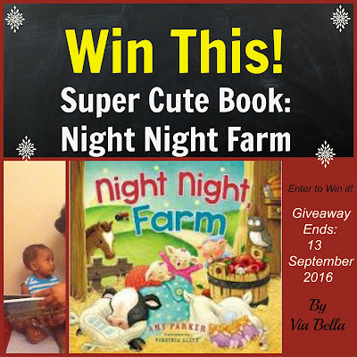 Win this Super Cute Book- Night Night Farm,amy parker, fly by promotions, book review, toddler books, baby books, perfect christmas persent for babies, family, giveaway, enter to win, via bella, kids books,