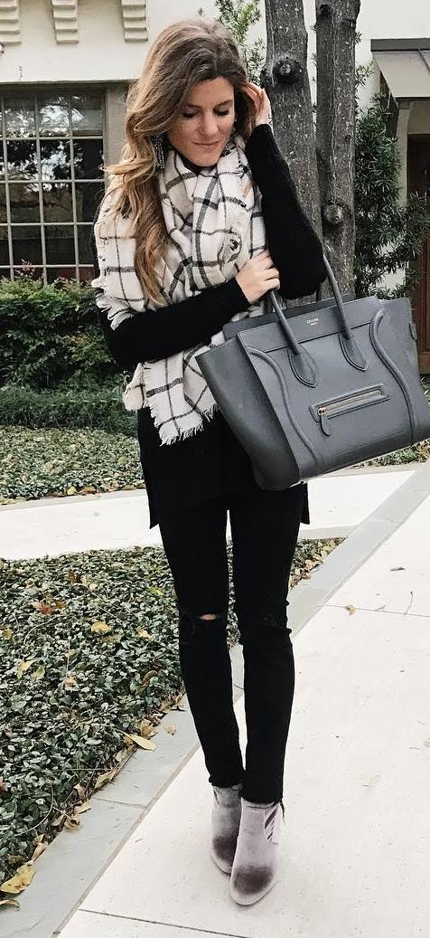 black on black + details / plaid scarf + bag + rips + sweater + boots