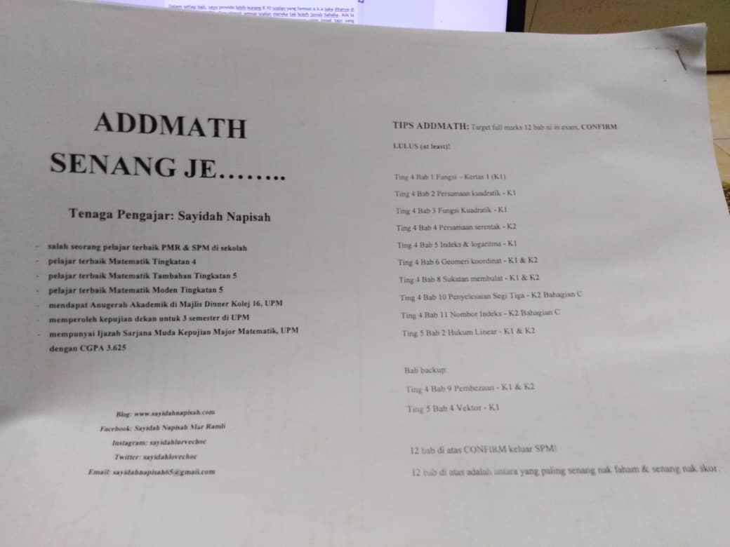 Pengalaman Mengajar Addmath Pada Hampir 100 Pelajar Form 4 di UiTM Penang