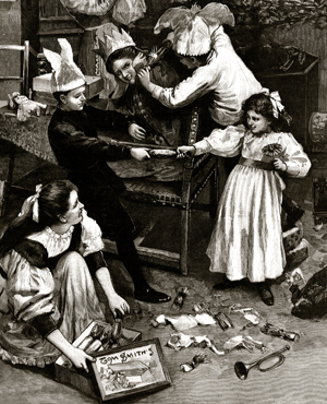 1895 edition of the London Illustrated News of a family opening a box of Tom Smith's Crackers
