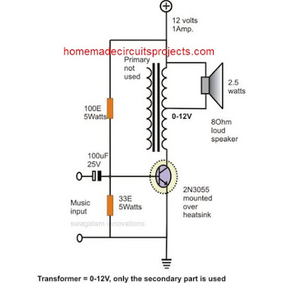 single transistor power amplifier circuit