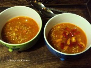 buckwheat soup with bell peppers and tomatoes