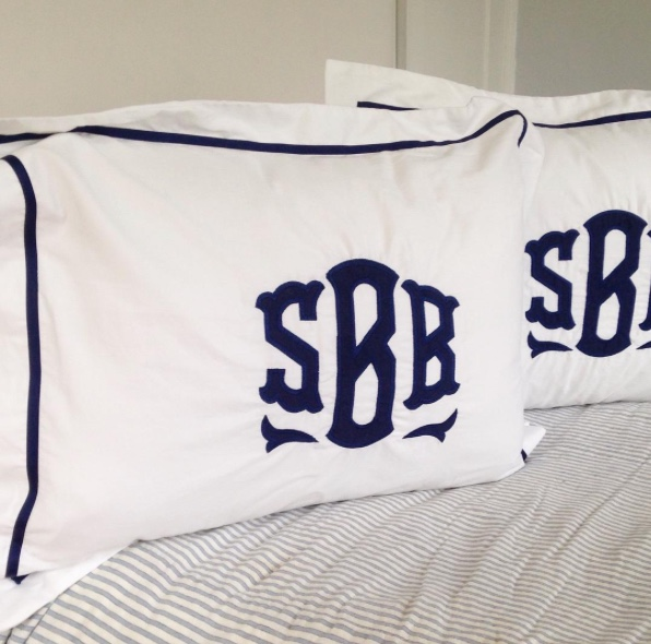 Navy Applique Monogrammed Shams