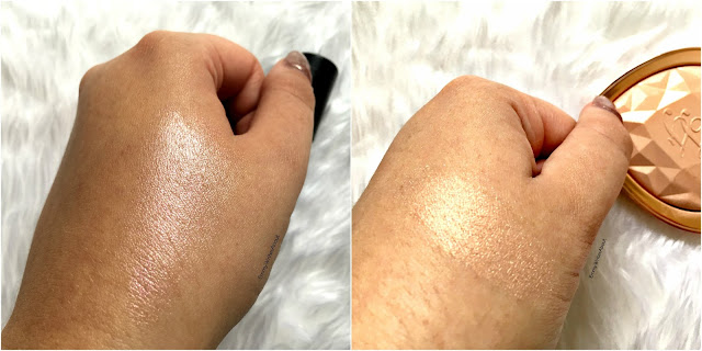 laura geller illuminating stick diamond dust swatch, too faced ray of light swatch