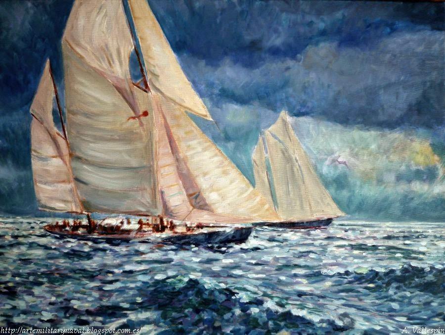 Pintura al óleo vela clasica atardecer azul