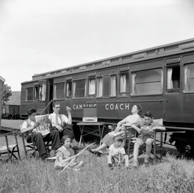 A selection of photos and descriptive text highlighting the one-time immense popularity of people taking their annual holidays aboard a railway camping coach in the uk.