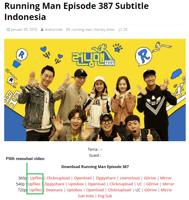 Download Running Man Episode 387 di drakorindo
